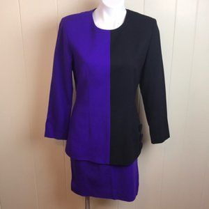 Vintage 80s Drop Waist Color Block Wool Suit Dress